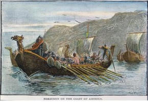 NORSE SHIPS, c1000 A.D.  Norsemen on the coast of America. Wood engraving, American, late 19th century.