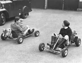 Prince Charles and Prince Andrew racing Princess Anne on motorised go-carts.    (Photo by Hulton Archive/Getty Images)