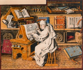 2-R70-M1-1455-B   Writing Monk / French Illum./ C15th  Religion / Monasteries / Monks. - Writing monk. - Miniature (grisaille) fr.the manuscript 'Miracles de Notre Dame'. France, mid-15th century. Coloured photogr.reproduction.