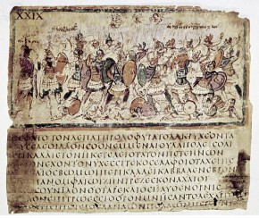 TROJAN WAR.  Greek and Trojan warriors in combat. Illumination from the oldest example of an illustrated Greek manuscript, c600 AD.